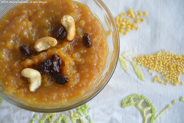 Sweet millet pongal - a creamy porridge of lentils, milelts and raw sugar