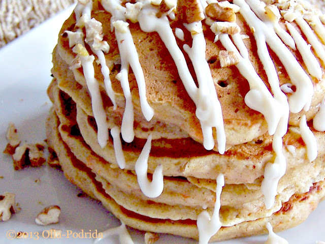 Carrot Cake Pancakes with Maple Cream Cheese Drizzle