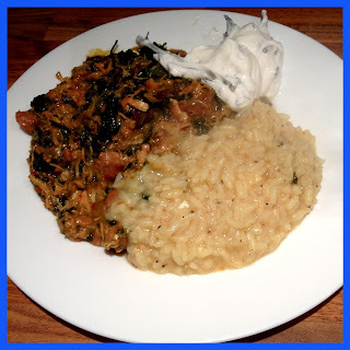 Slow Cooked Mustard Chicken Curry, with Spinach and Pilau Rice