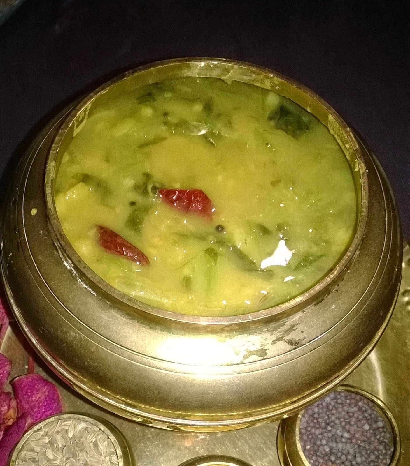 Spinach with dal and dried prawns