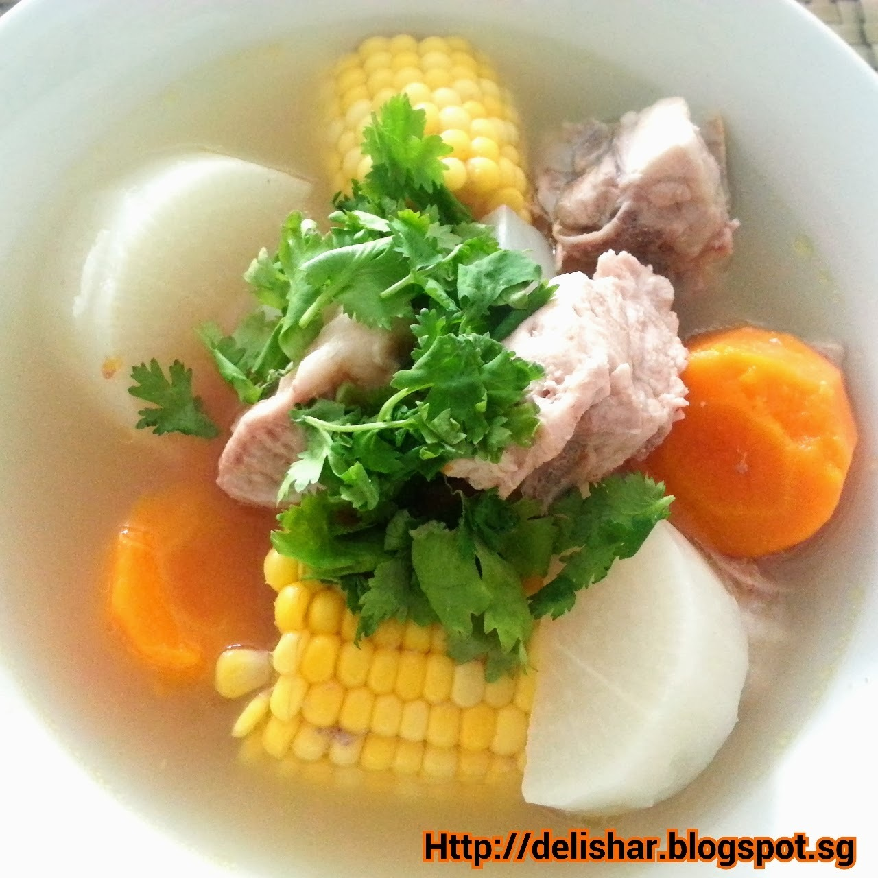 Radish, Carrot, and Corn Soup