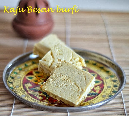 Kaju  besan burfi - chickpea flour cashewnut fudge- easy diwali sweet recipes