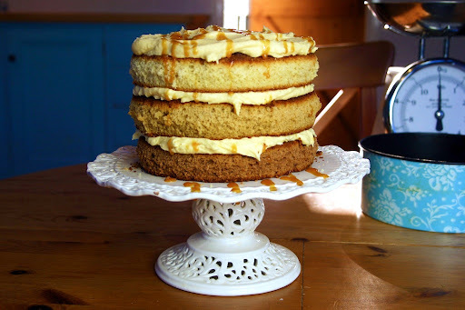 toffee, coffee and vanilla naked layer cake with salted toffee whipped cream icing