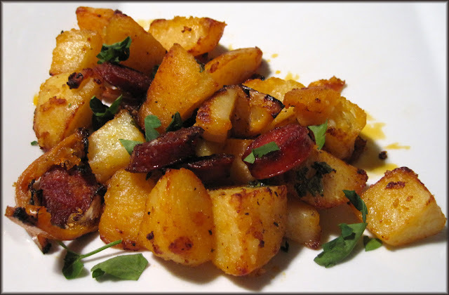 Crispy Potatoes with Chorizo, Lemon and Garlic
