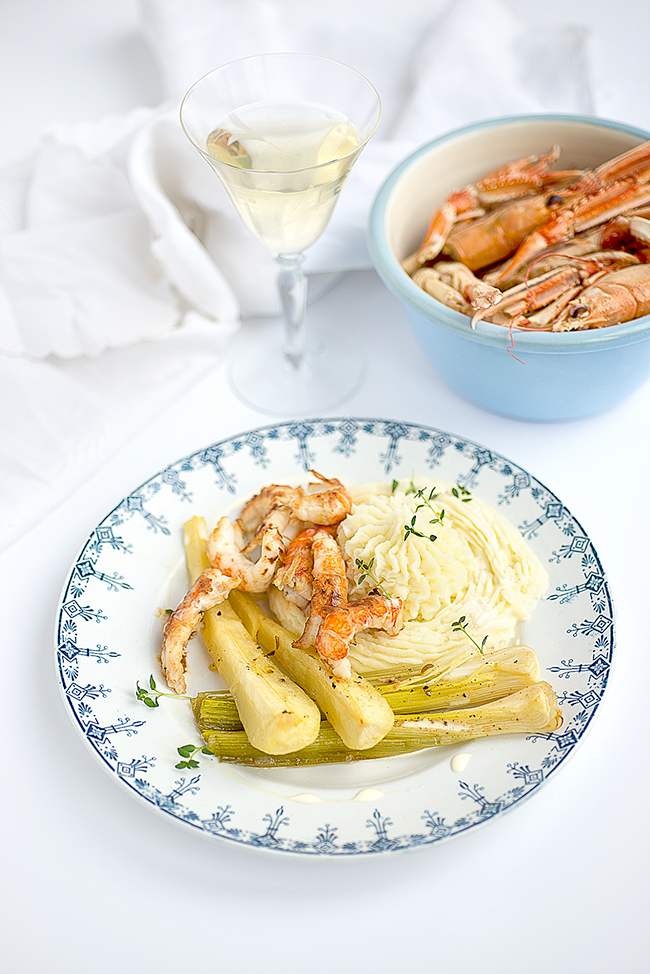 Langoustine with Potato purée and Soured Cream