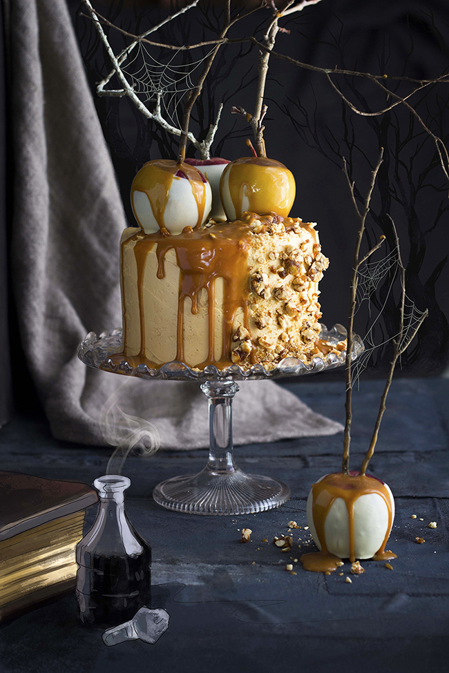 Halloween Poison Toffee Apple Cake with Caramel Peanut Brittle Buttercream and Snow White Apples
