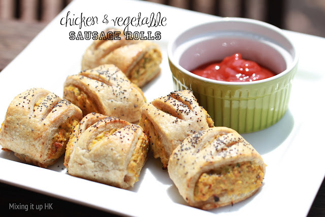 Chicken & vegetable sausage rolls with spelt pastry