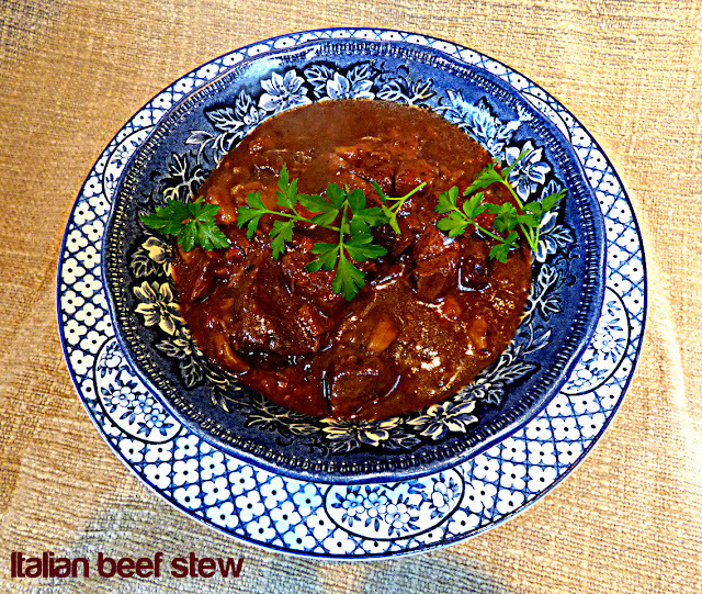 Italian beef stew with porcini, chestnuts and red wine