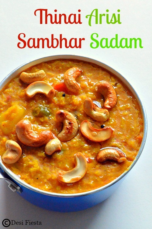 Thinai Arisi Sambhar Sadam | Thinai Sambhar Bhath | Foxtail millet Sambhar Sadam ~Millet Recipes
