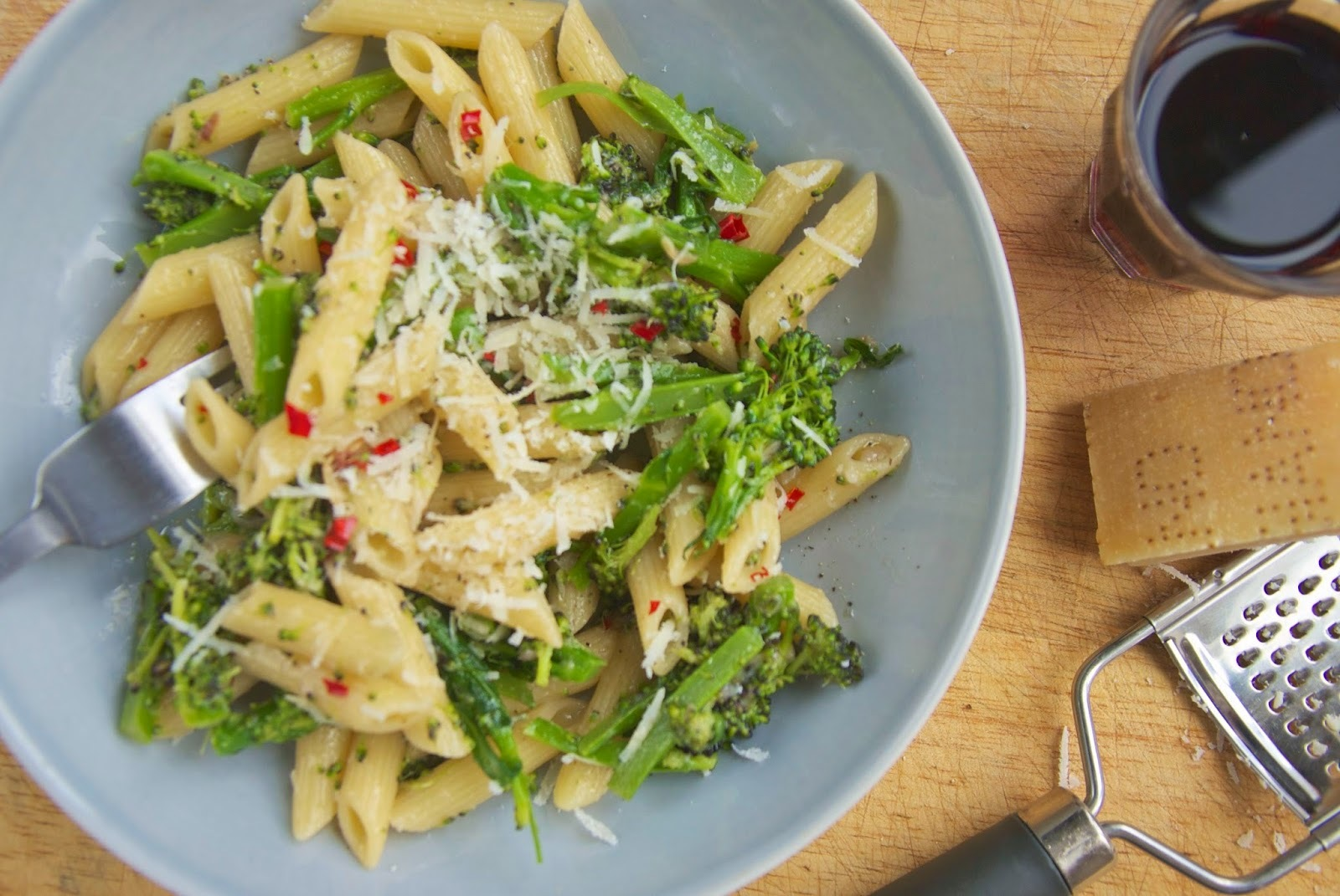 Penne with broccoli, anchovy, chilli and garlic