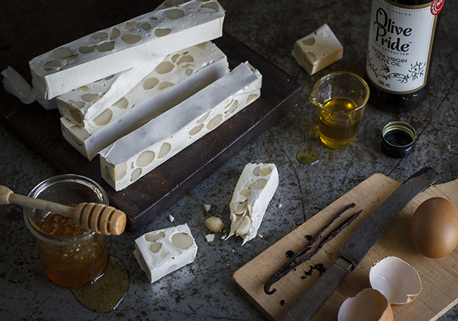 Vanilla and Olive Oil Nougat with Macadamia Nuts