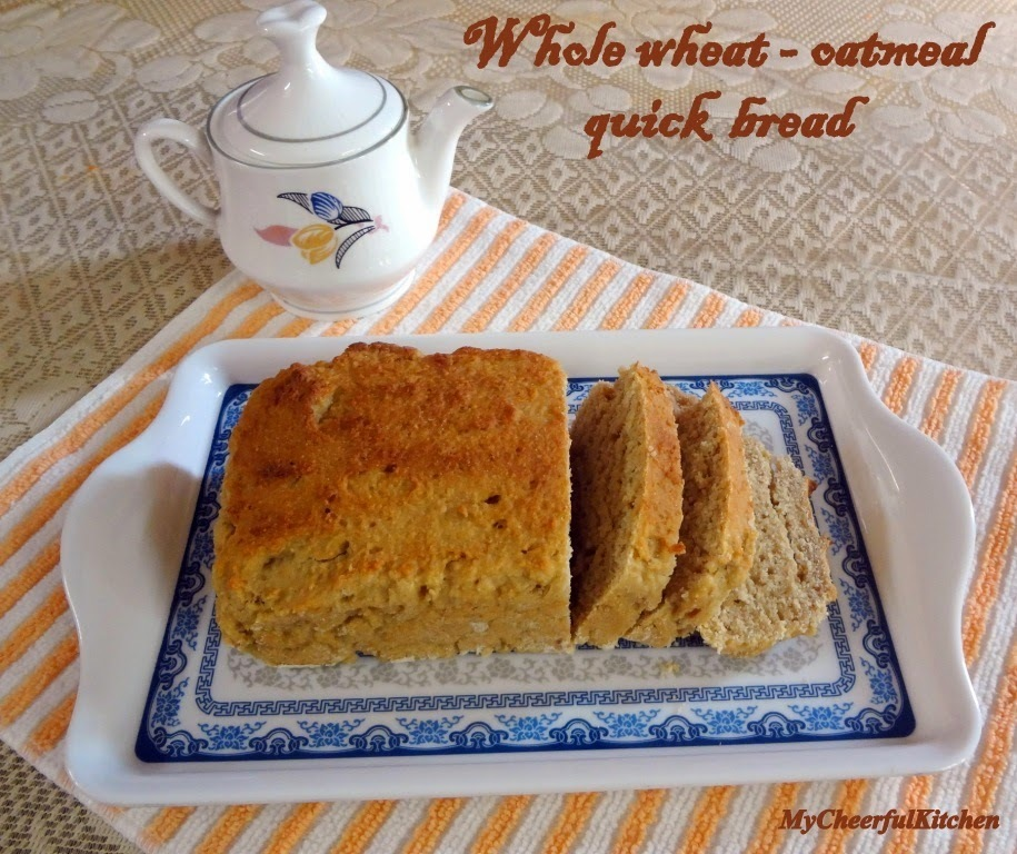 Eggless whole wheat and oatmeal quick bread