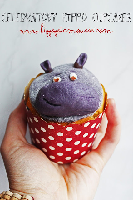 Celebratory Hippo Cupcakes {Blog Rename/ FINALLY got a domain Celebration Post!!}