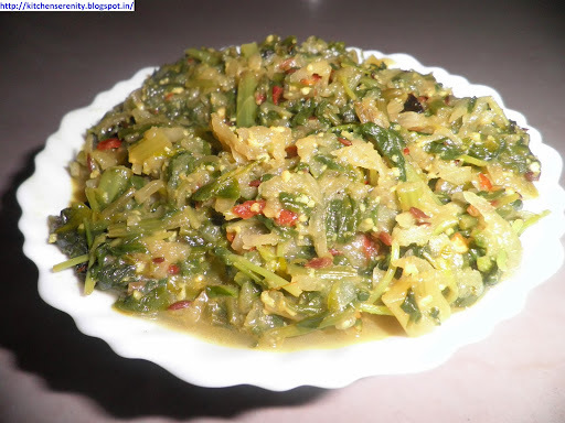 Palak, Methi Aur Mooli Ki Sabzi (Spinach, Fenugreek and Radish Leaves Stir-Fry)