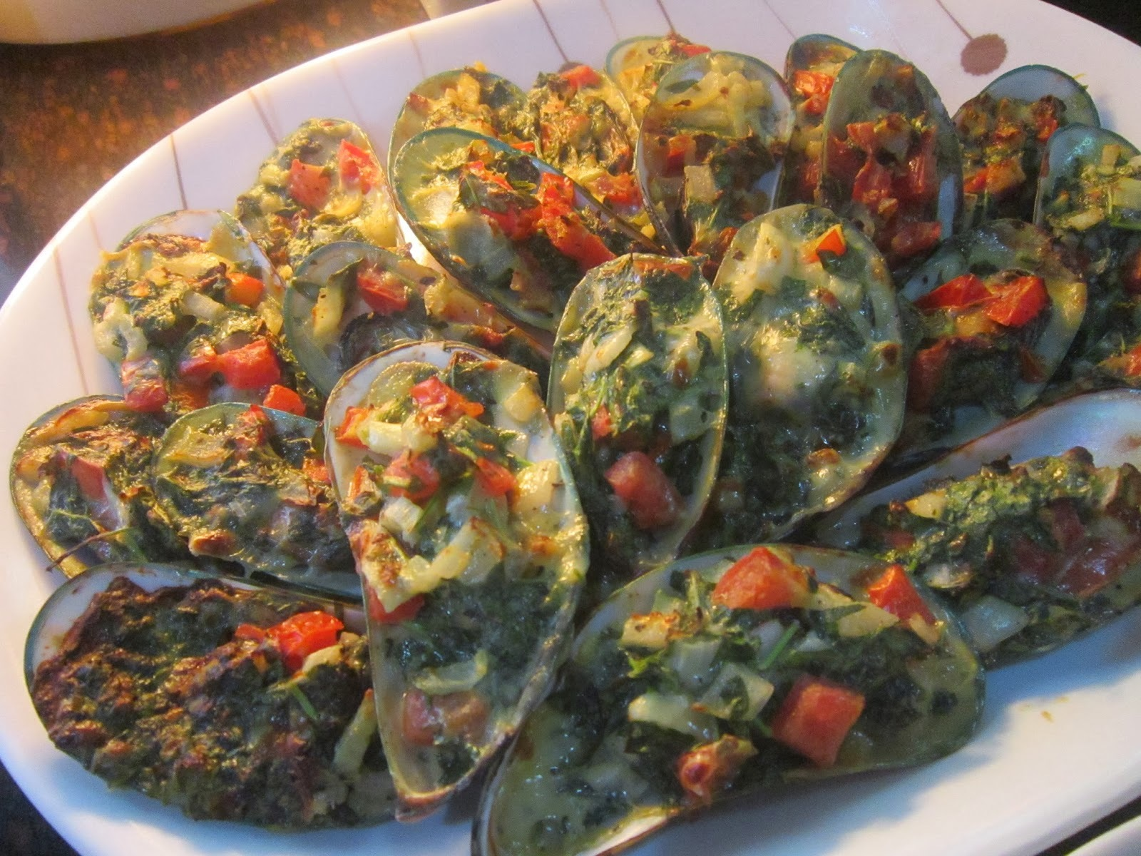 BAKED TAHONG with SPINACH