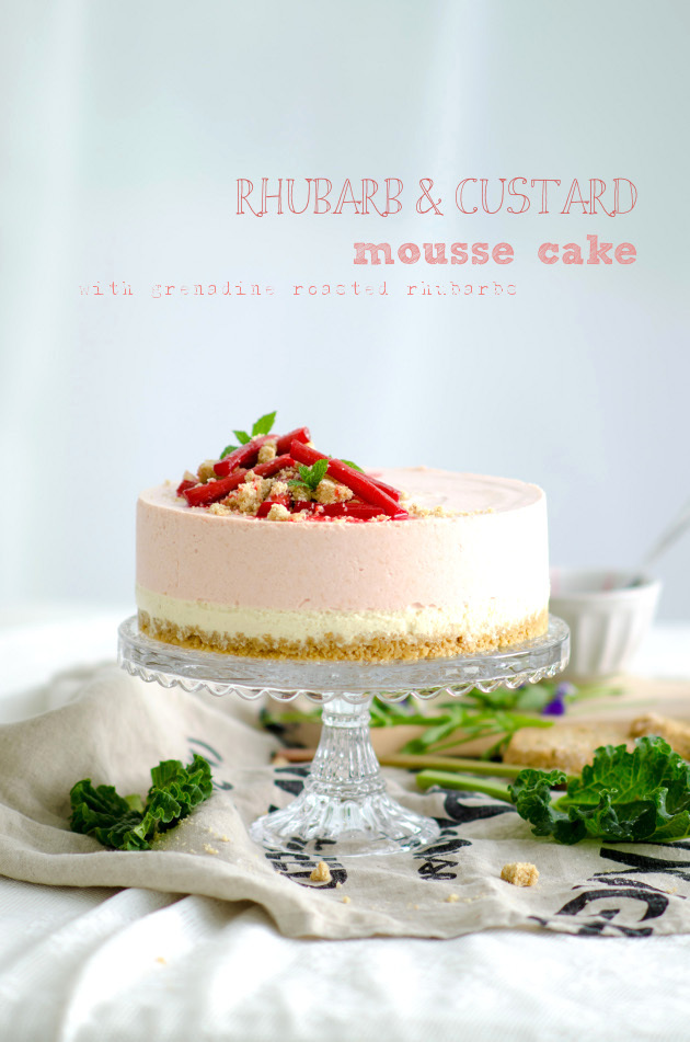 Rhubarb and Custard Mousse Cake with Grenadine Roasted Rhubarbs (Vanilj- och Rabarbermoussetårta med Grenadine Rostade Rabarber)