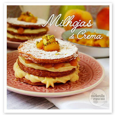 MILHOJAS DE CREMA, MELOCOTÓN Y MANZANA / CUSTARD CREAM, PEACH AND APPLE MILLEFEUILLE