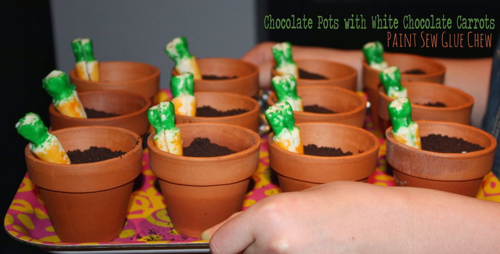 Chocolate Mousse Flower Pots with White Chocolate Carrots