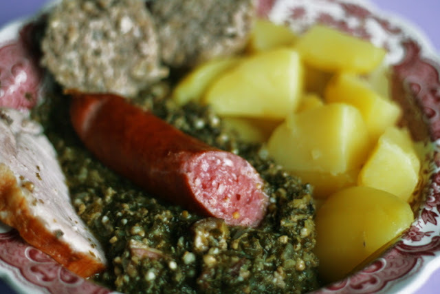 Grünkohl - German Style Green Kale with sausages and ham steak