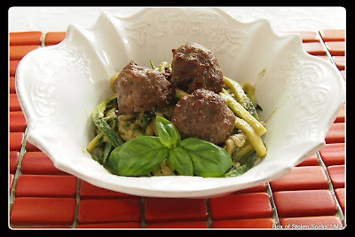 "Zucchini ""Noodles"" with Meatballs and Basil-Walnut Pesto"