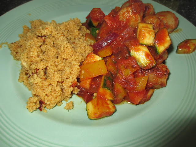 Spicy Sausage Casserole with cous cous - 46p per portion