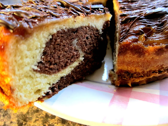 Toffee apple topped chocolate marble cake - recipe
