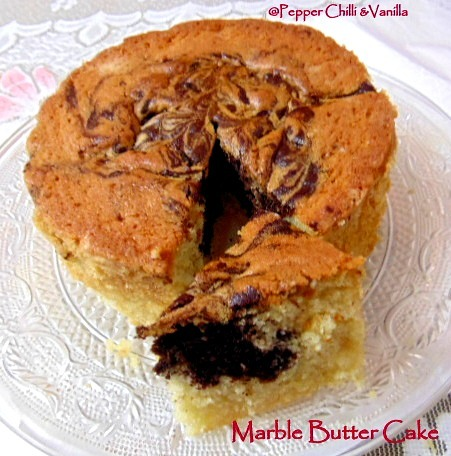 Marble Butter Cake/Easy Marble Butter Cake Recipe