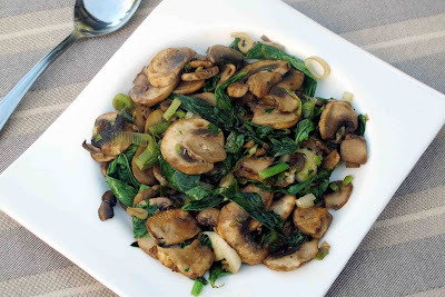 Broad Bean Tips, Mushrooms and Spring Onions