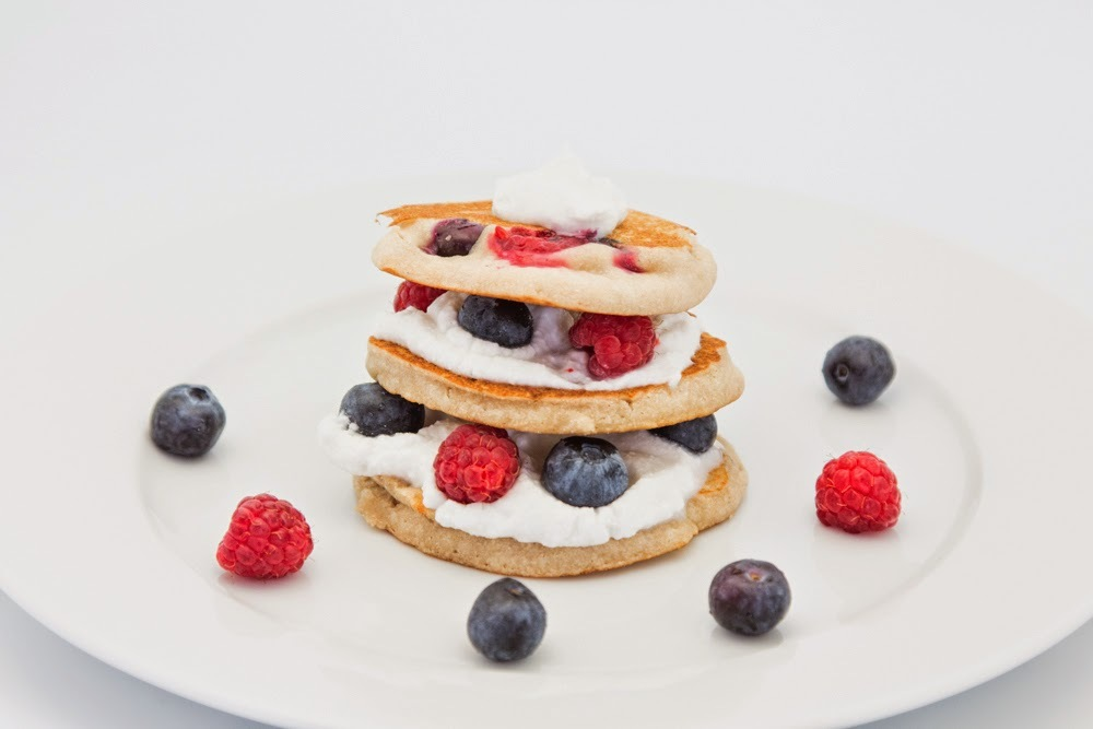 Berry Pancakes with Coconut Cream, Gluten-Free and Vegan