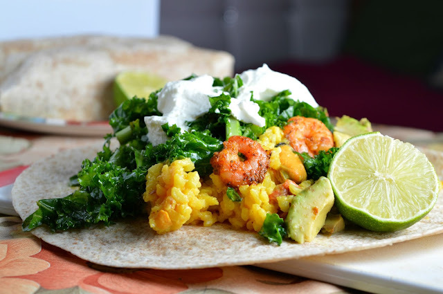 Kale & Jerk Shrimp Leftover Wraps