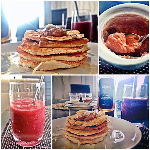 Vanilla Coconut Pancakes And Cranberry Rasberry Ginger Drink