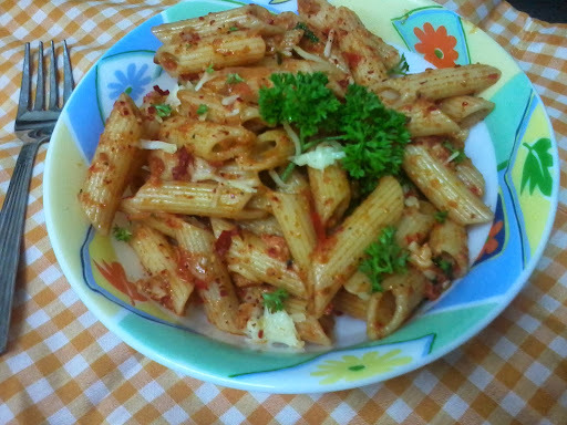 Roasted red bell pepper penne pasta recipe |penne paste with tomato red pepper pesto sauce