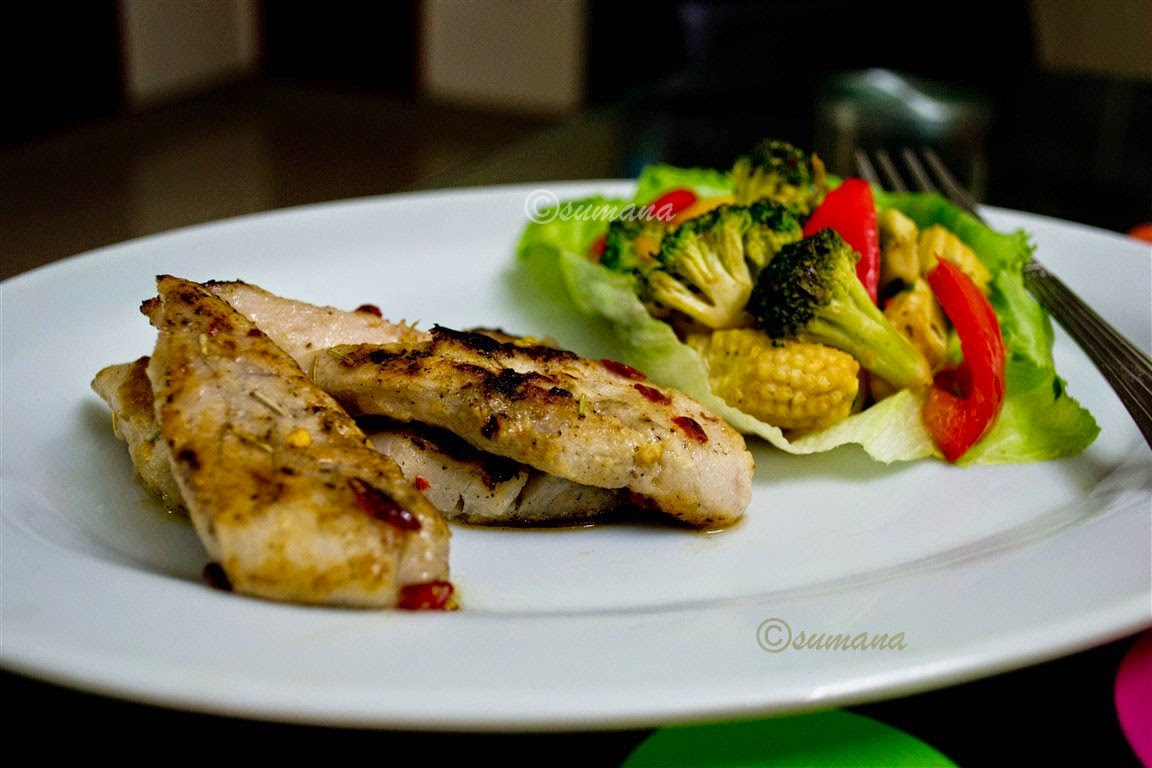 Grilled Fish With Tossed Vegetables Recipe