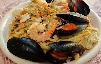 Mussels, Scallops, Clams, Shrimp Scampi Over Linguine Recipe