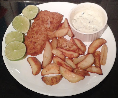 Battered Fish with Wedge Potatoes and Delicious White Sauce - Recipe