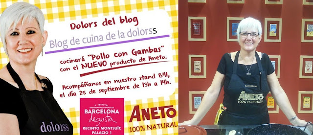Showcooking en Fira Degusta, Barcelona. Pollo con gambas (video)