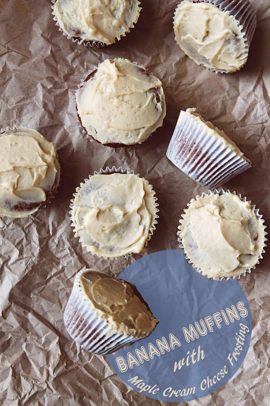 Banana Muffins with Maple Cream Cheese Frosting