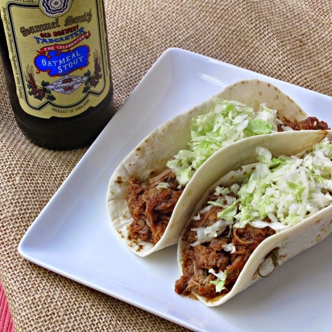 Pulled Pork Tacos Slow Cooked in Oatmeal Stout Beer and Simmered in a Roasted Rhubarb Sauce