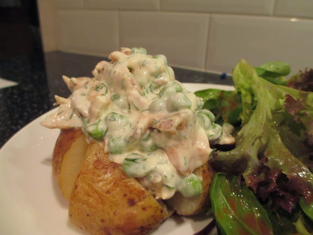 Salmon, Dill and Creme Fraiche Topped Baked Potatoes.