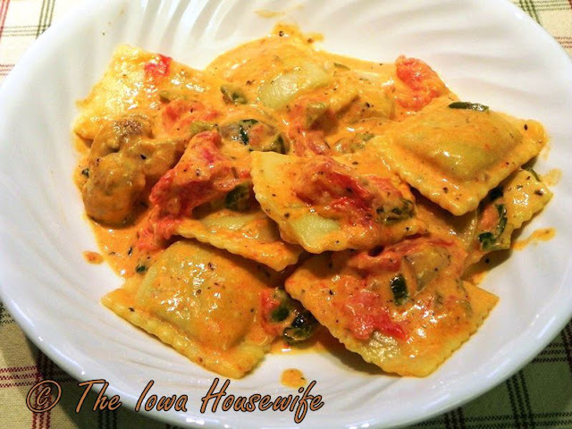 Family Favorites...Beef Ravioli in Basil Cream Sauce