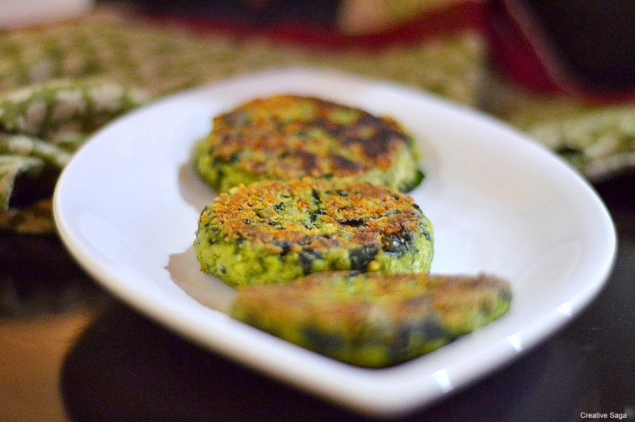 Tofu and spinach cutlets recipe - Spinach tofu patty for burger/sandwiches