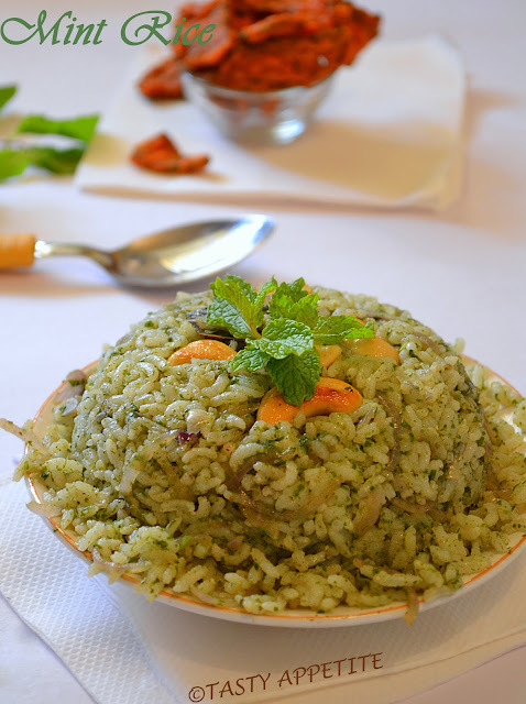How to make Pudina Rice / Mint Rice / Pulav /  Step by Step Recipe: