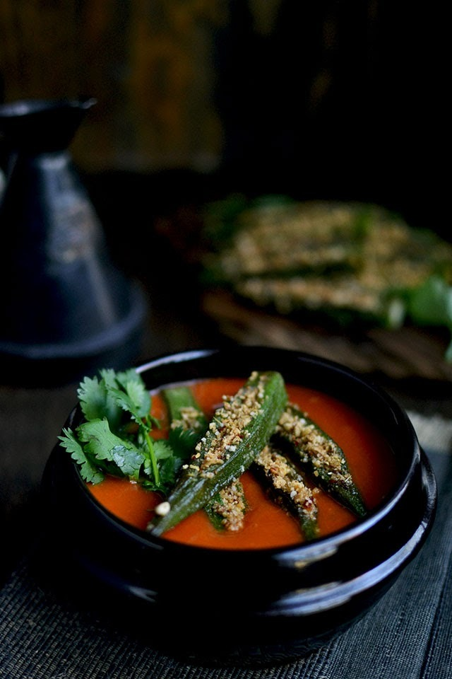 Bhindi Masala Curry (Spicy Stuffed Okra Curry)