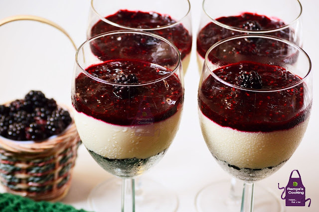 No bake Black Berry Cheese cake in glasses