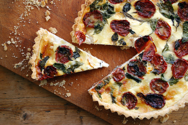 oven roasted tomato, basil and mozzarella quiche with gluten-free pastry