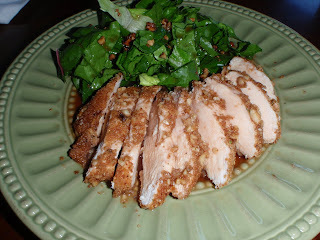 Walnut Crusted Chicken Breasts with Pomegranate Syrup