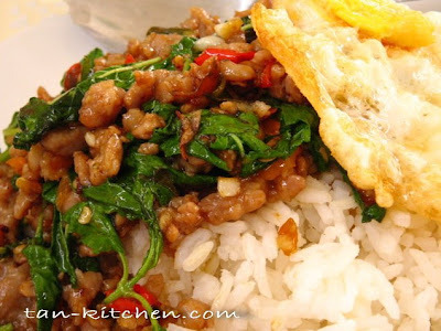 Fried Ground Pork With Holy Basil Leaves (Pad Ka-prao mou sub & Khai dow)