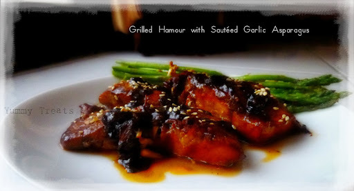 Grilled Hammour with Sautéed Garlic Asparagus