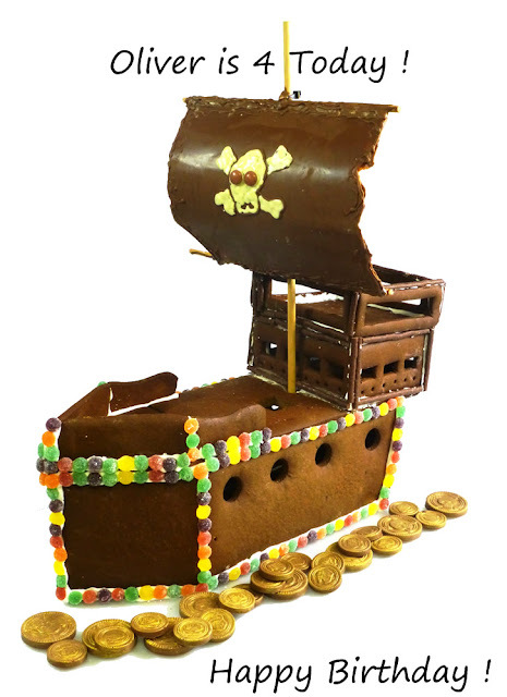 Gingerbread Pirate Ship - Happy 4th Birthday Oliver  !