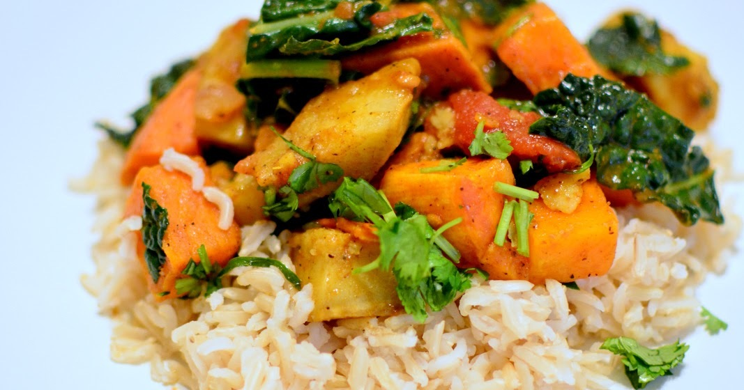 vegan sweet potato kale coconut curry